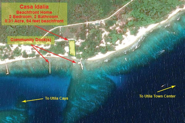 Location on Utila (detailed)