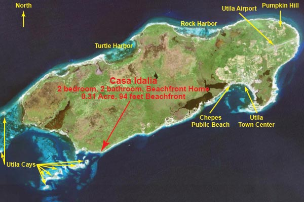 Location on Utila
