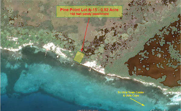 Pine Point Lot A-15 - Location on Utila (detailed)