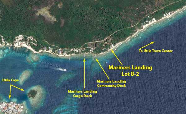 Mainers Landing Lot B-2 location on Utila south shore